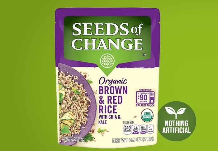 Seeds of Change® rown and Red Rice with Chia and Kale Front of Pack