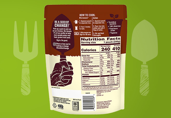 Seeds of Change® Long Grain Brown Rice Back of Pack