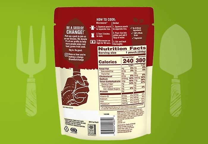 Seeds of Change® Red Beans and Brown Rice Back of Pack