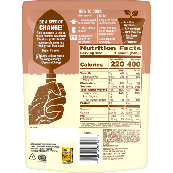 Seeds of Change® Seven Whole Grains Back of Pack