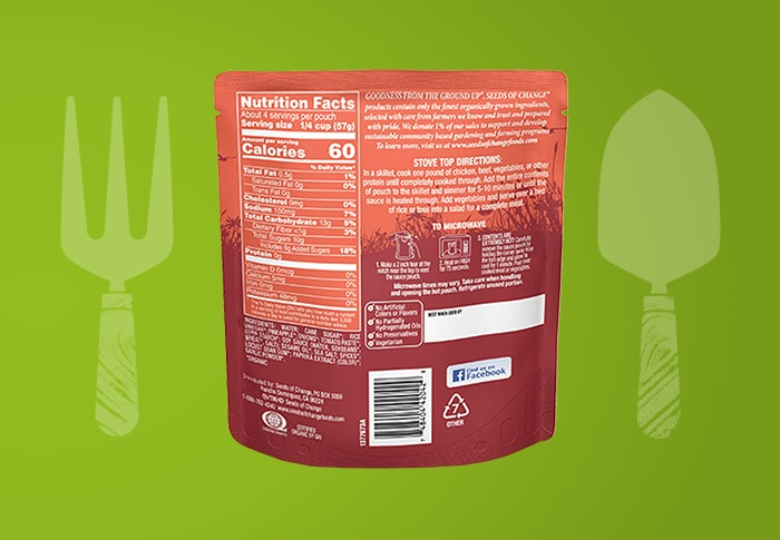 Seeds of Change® Sweet and Sour Simmer Sauce Back of Pack
