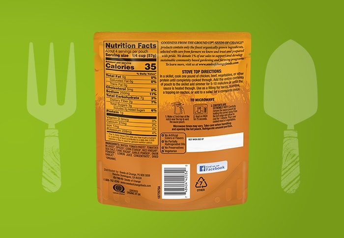 Seeds of Change® Taco Roasted Chipotle Simmer Sauce Back of Pack