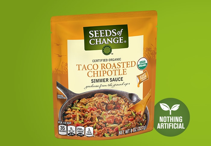 Seeds of Change® Taco Roasted Chipotle Simmer Sauce Front of Pack
