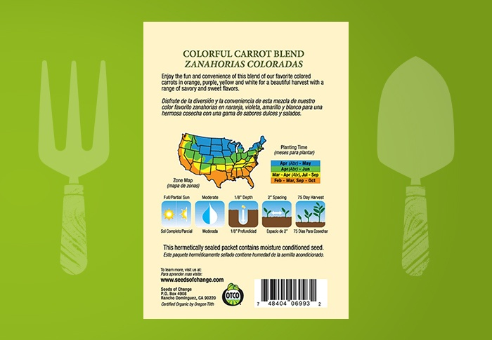 Seeds of Change® Organic Colorful Carrot Blend Seeds Back of Pack