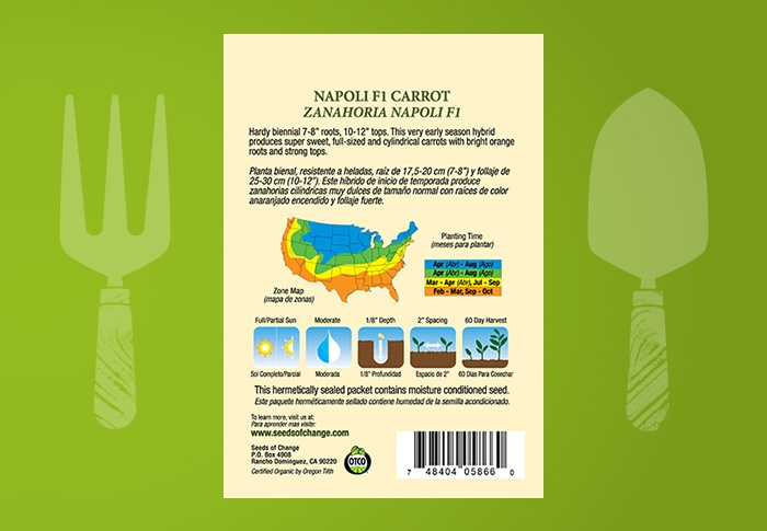 Seeds of Change® Organic Napoli Carrot Seeds Back of Pack