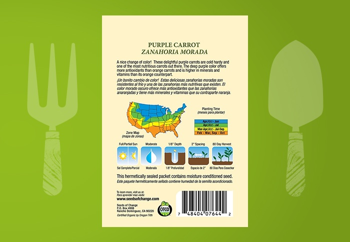 Seeds of Change® Organic Purple Carrot Seeds Back of Pack