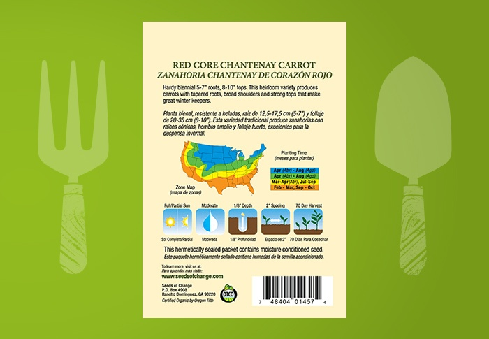 Seeds of Change® Organic Red Core Chantenay Carrot Seeds Back of Pack