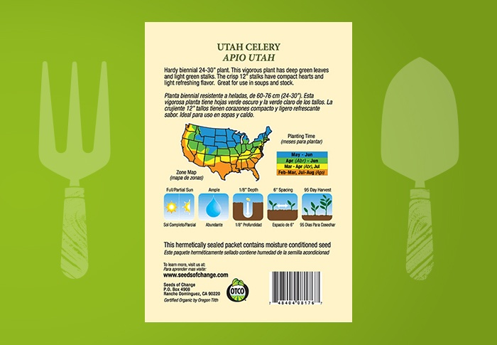 Seeds of Change® Organic Utah Celery Seeds Back of Pack