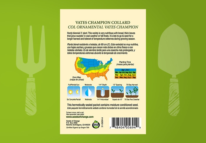 Seeds of Change® Organic Vates Champion Collard Seeds Back of Pack