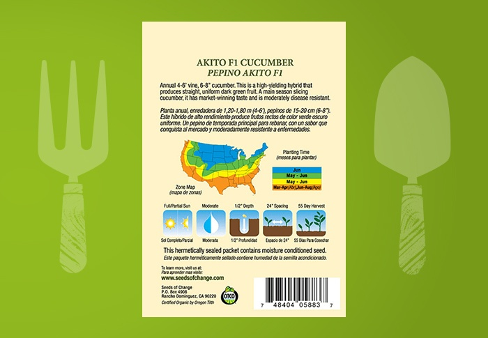 Seeds of Change® Organic Akito Cucumber Seeds Back of Pack