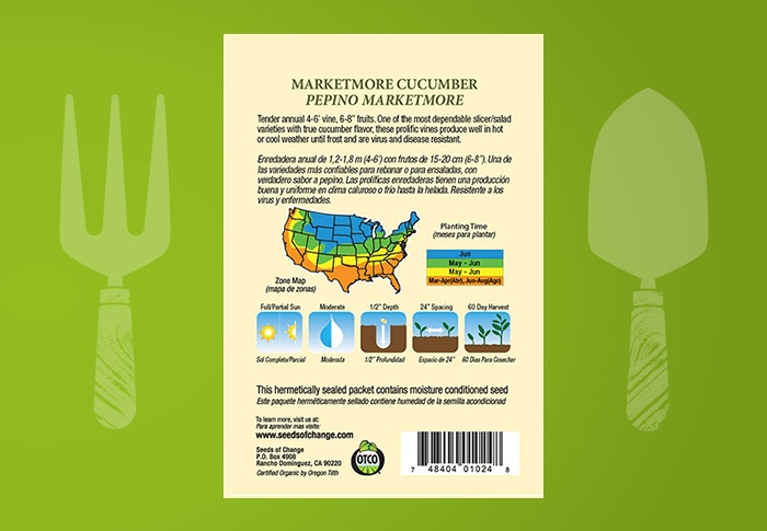 Seeds of Change® Organic Marketmore Cucumber Seeds Back of Pack