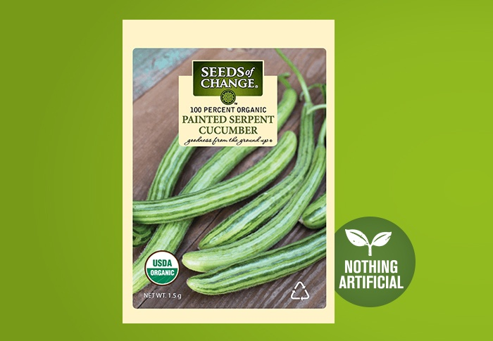 Seeds of Change® Organic Painted Serpent Cucumber Seeds Front of Pack