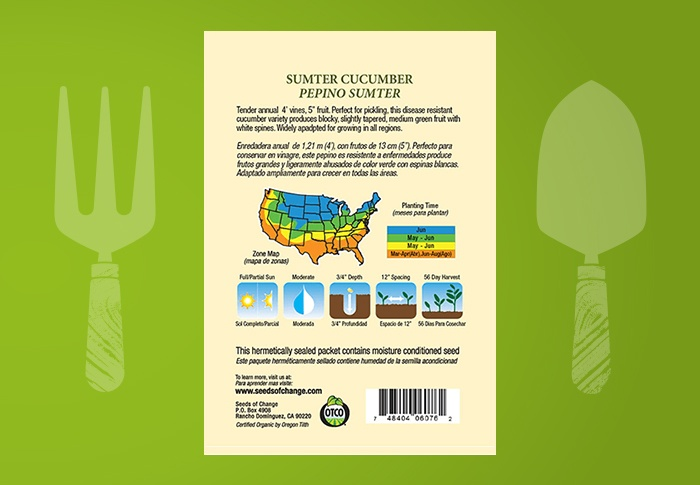 Seeds of Change® Organic Sumpter Cucumber Seeds Back of Pack