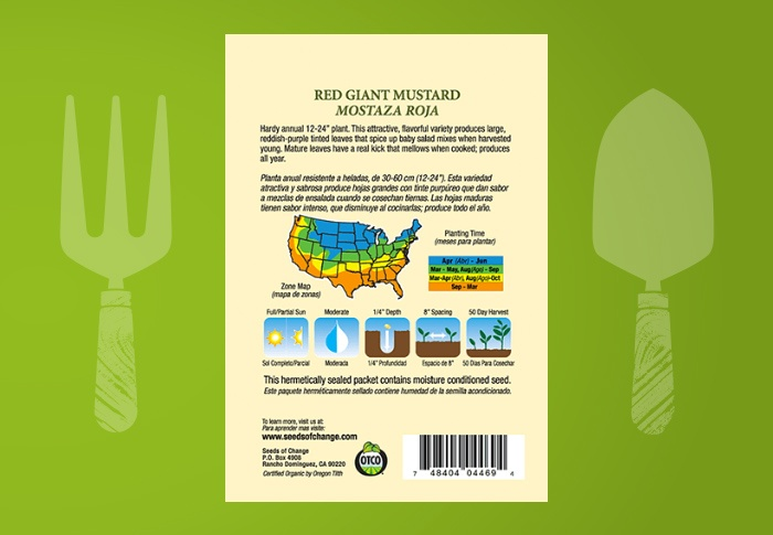Seeds of Change® Organic Red Giant Mustard Seeds Back of Pack