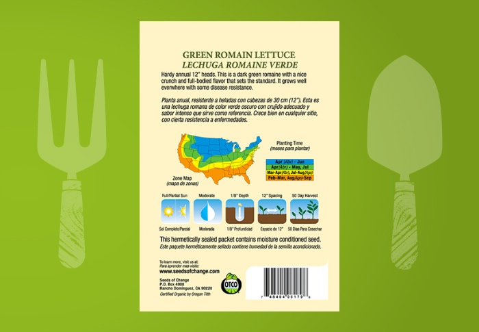Seeds of Change® Organic Green Romaine Lettuce Seeds Back of Pack