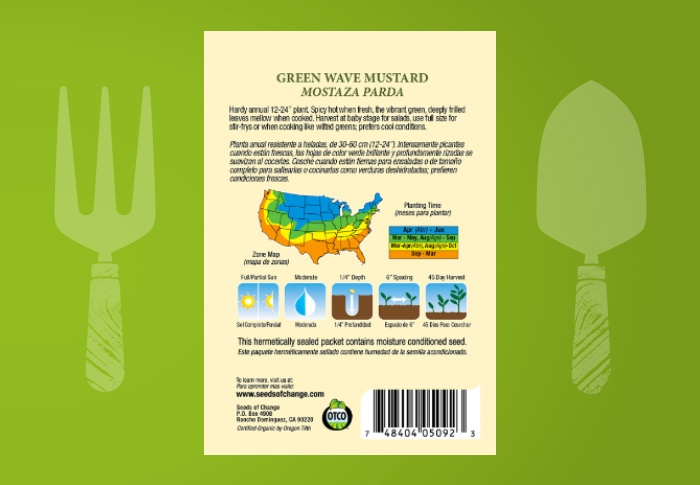 Seeds of Change® Organic Green Wave Mustard Seeds Back of Pack