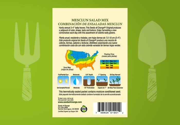 Seeds of Change® Organic Mesclun Salad Mix Seeds Back of Pack