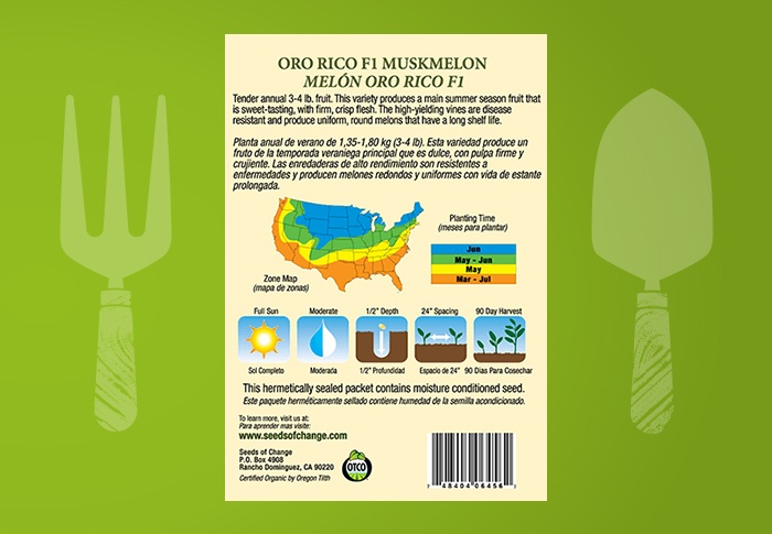 Seeds of Change® Organic Oro Rico Muskmelon Seeds Back of Pack