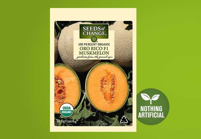 Seeds of Change® Organic Oro Rico Muskmelon Seeds Front of Pack