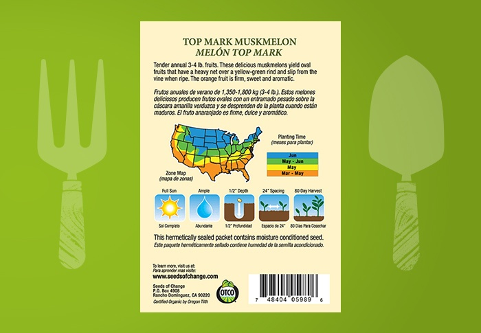 Seeds of Change® Organic Top Mark Muskmelon Seeds Back of Pack