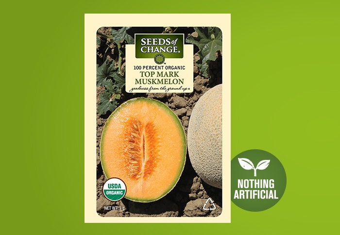 Seeds of Change® Organic Top Mark Muskmelon Seeds Front of Pack