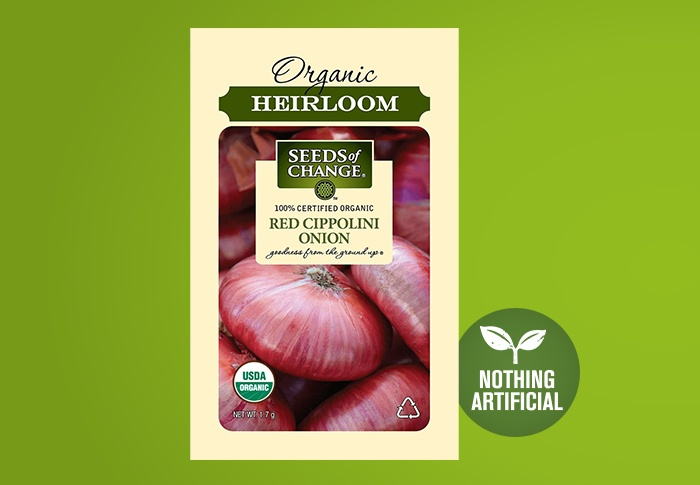 Seeds of Change® Organic Red Cippolini Onion Seeds Front of Pack