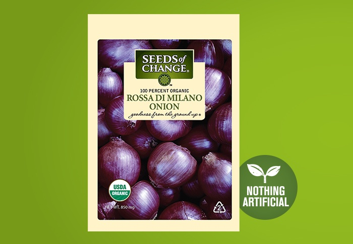 Seeds of Change® Organic Rosa Di Milano Onion Seeds Front of Pack