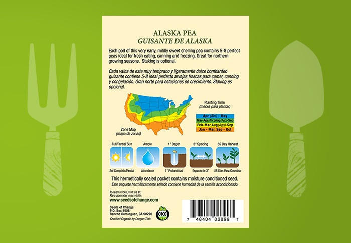 Seeds of Change® Organic Alaska Pea Seeds Back of Pack