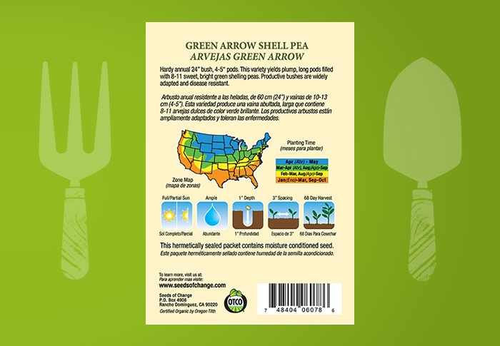 Seeds of Change® Organic Green Arrow Shell Pea Seeds Back of Pack