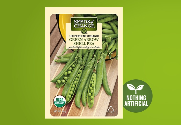 Seeds of Change® Organic Green Arrow Shell Pea Seeds Front of Pack