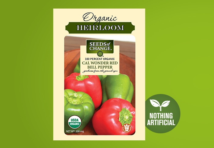Seeds of Change® Organic Cal Wonder Red Bell Pepper Seeds Front of Pack