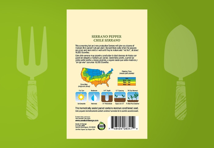 Seeds of Change® Organic Serrano Pepper Seeds Back of Pack