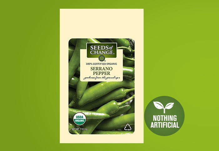 Seeds of Change® Organic Serrano Pepper Seeds Front of Pack