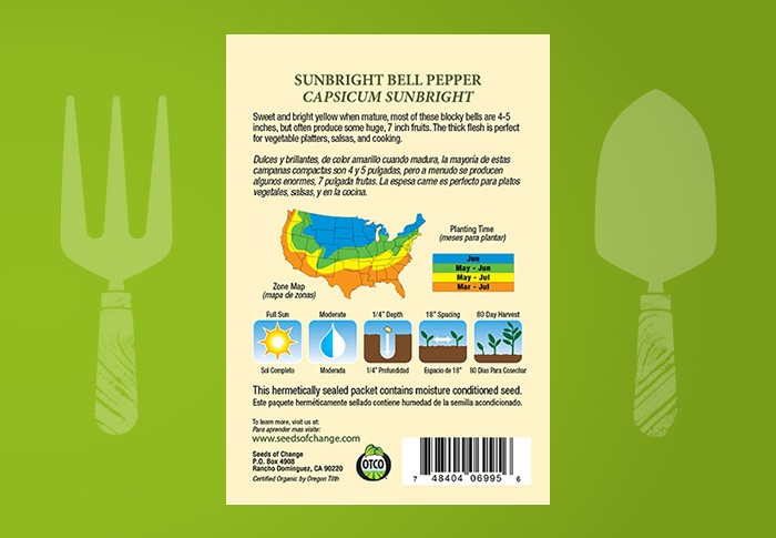 Seeds of Change® Organic Sunbright Bell Pepper Seeds Back of Pack