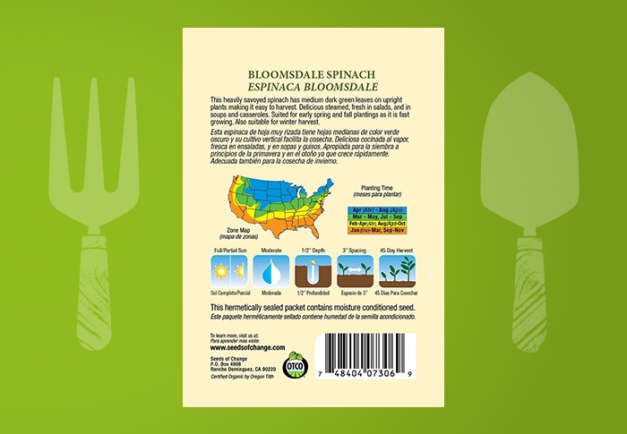 Seeds of Change® Organic Bloomsdale Spinach Seeds Back of Pack