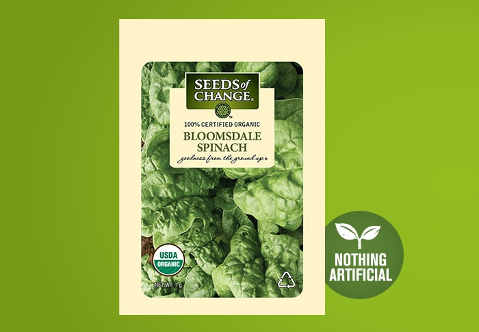 Seeds of Change® Organic Bloomsdale Spinach Seeds Front of Pack