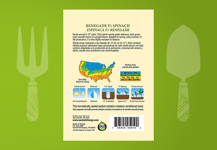 Seeds of Change® Organic Renegade Spinach Seeds Back of Pack