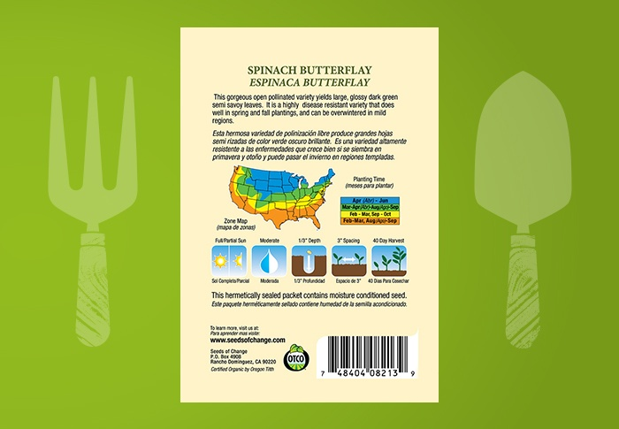 Seeds of Change® Organic Organic Spinach Butterflay Seeds Back of Pack