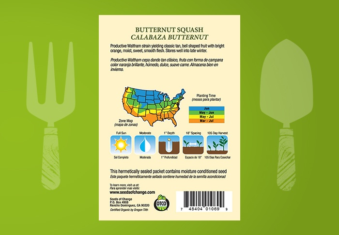 Seeds of Change® Organic Butternut Squash Seeds Back of Pack