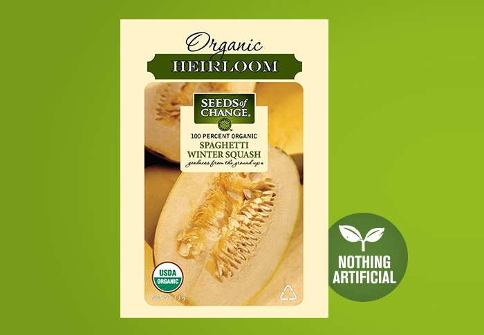 Seeds of Change® Organic Spaghetti Winter Squash Seeds Front of Pack