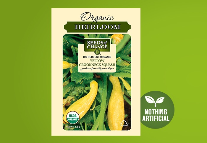 Seeds of Change® Organic Yellow Crookneck Squash Seeds Front of Pack