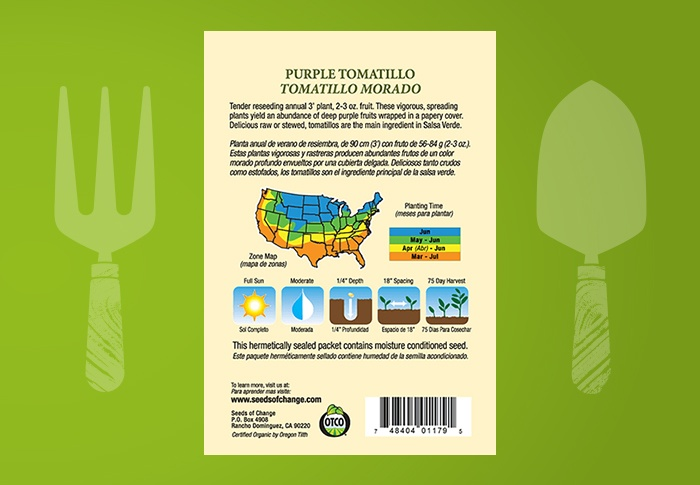 Seeds of Change® Organic Purple Tomatillo Seeds Back of Pack