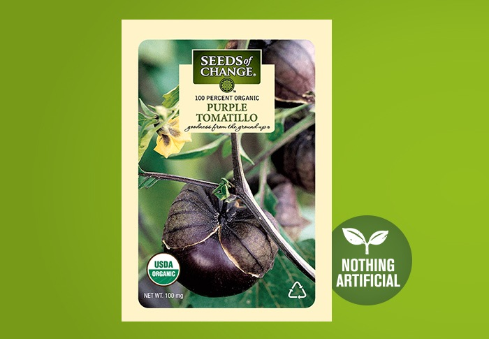 Seeds of Change® Organic Purple Tomatillo Seeds Front of Pack