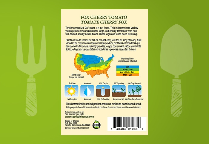 Seeds of Change® Organic Fox Cherry Tomato Seeds Back of Pack