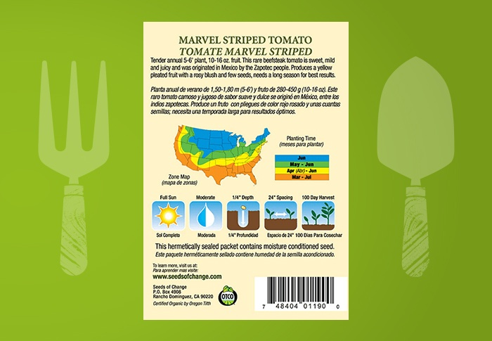 Seeds of Change® Organic Marvel Striped Tomato Seeds Back of Pack