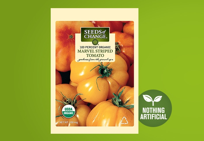 Seeds of Change® Organic Marvel Striped Tomato Seeds Front of Pack