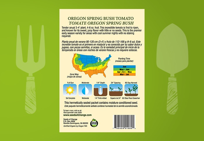 Seeds of Change® Organic Oregon Spring Tomato Seeds Back of Pack