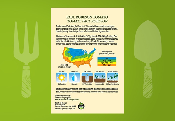 Seeds of Change® Organic Paul Robeson Tomato Seeds Back of Pack