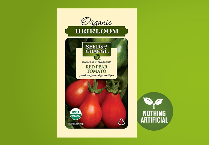 Seeds of Change® Organic Red Pear Cherry Tomato Seeds Front of Pack