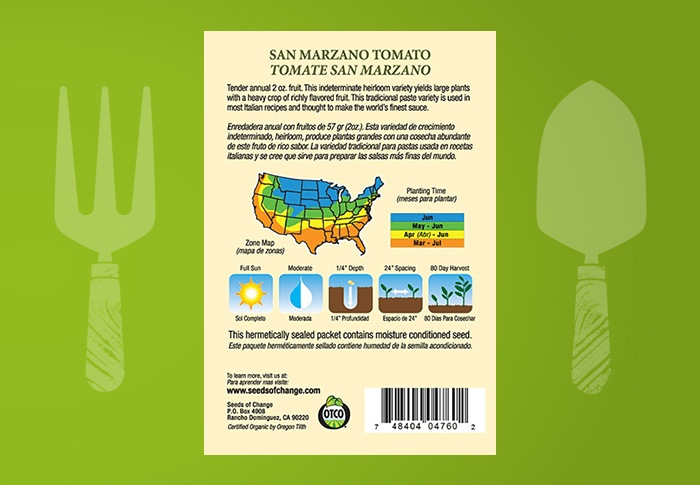 Seeds of Change® Organic San Marzano Tomato Seeds Back of Pack